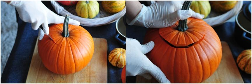 jak zrobić dynię na halloween kolaż 1