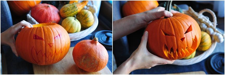jak zrobić dynię na halloween kolaż 2
