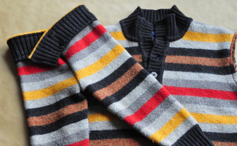 Jak ze starego swetra zrobic spode nki na zimę dla dziecka DIY (8)